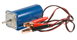 Customized OEM motors – Battery powered customized motor with battery cables for DEF pump application